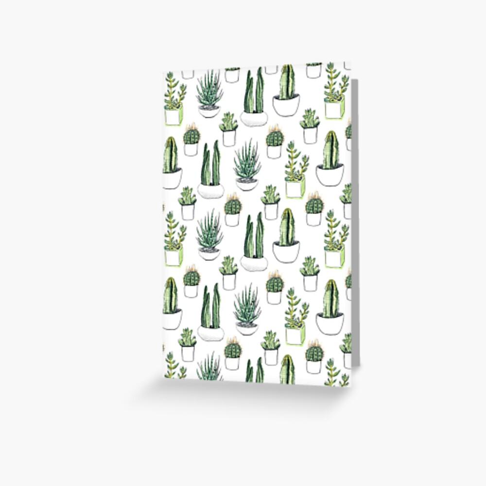 Cactus y suculentas de acuarela. Tarjetas de felicitación
