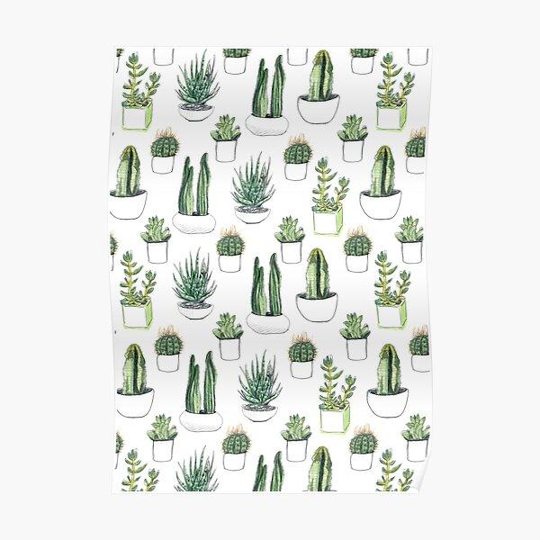 Watercolour cacti & succulents Poster
