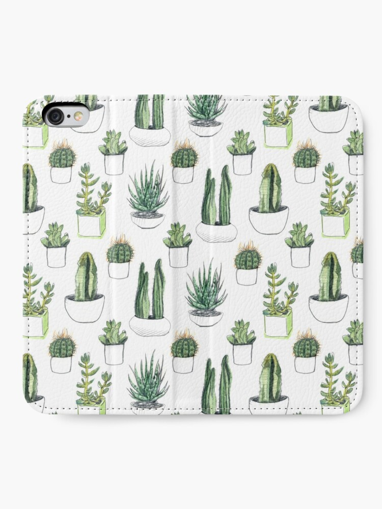 Alternate view of Watercolour cacti & succulents iPhone Wallet