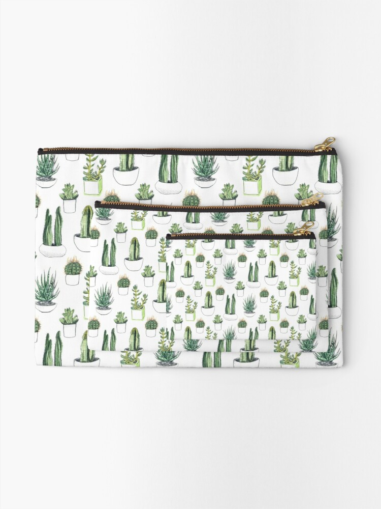 Alternate view of Watercolour cacti & succulents Zipper Pouch