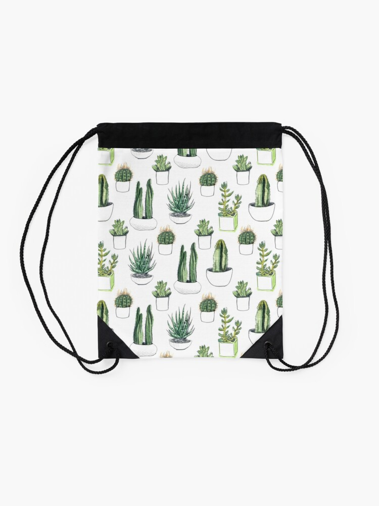 Alternate view of Watercolour cacti & succulents Drawstring Bag