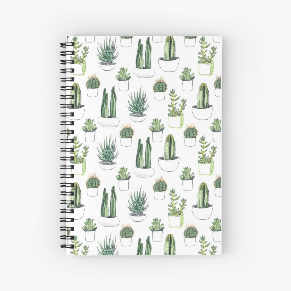 Watercolour cacti & succulents Spiral Notebook
