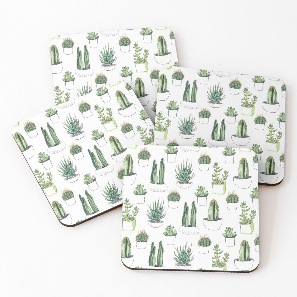 Watercolour cacti & succulents Coasters (Set of 4)
