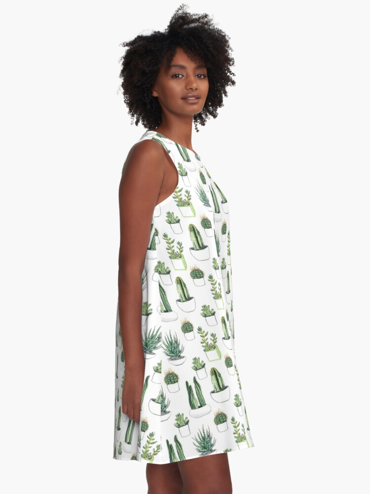 Alternate view of Watercolour cacti & succulents A-Line Dress