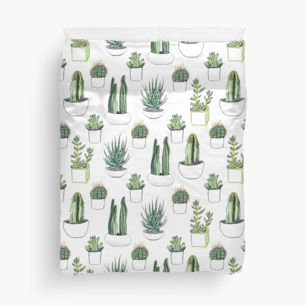 Watercolour cacti & succulents Duvet Cover