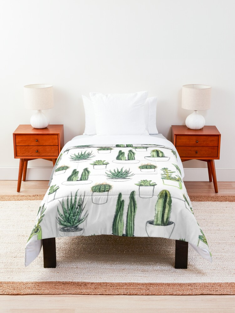 Alternate view of Watercolour cacti & succulents Comforter
