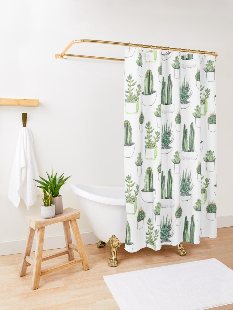 Alternate view of Watercolour cacti & succulents Shower Curtain