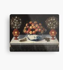 Hiepes, Tomas - Delft Fruit Bowl And Two Vases Of Flowers Metal Print