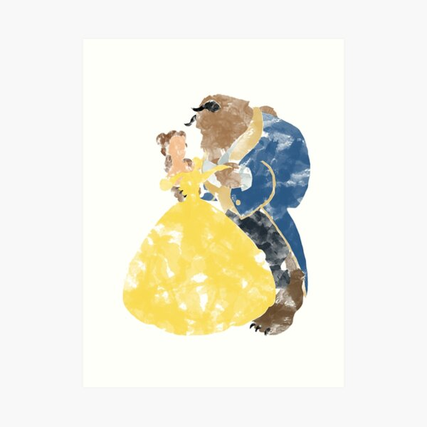 Watercolour Grunge of Beauty and The Beast (with transparency) Art Print