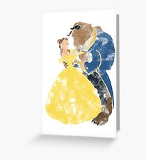Watercolour Grunge of Beauty and The Beast (with transparency) Greeting Card