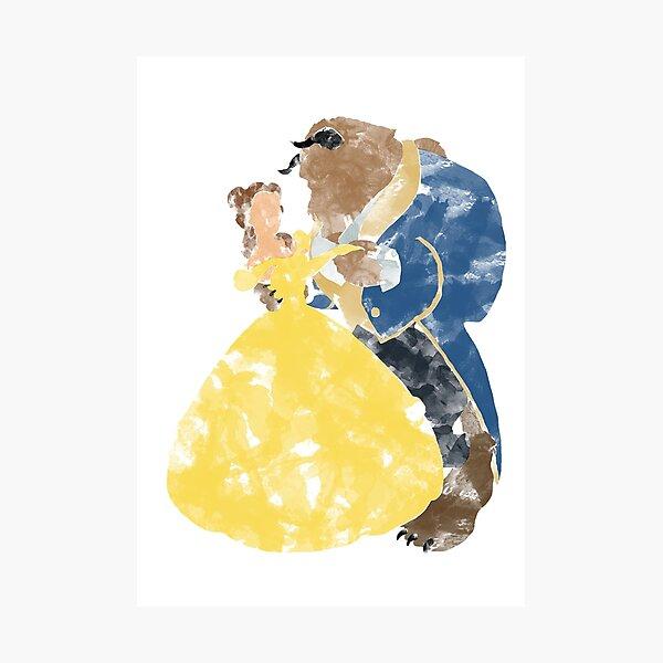 Watercolour Grunge of Beauty and The Beast (with transparency) Photographic Print