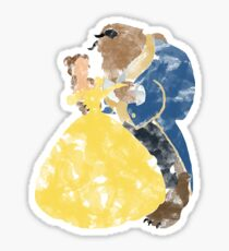 Watercolour Grunge of Beauty and The Beast (with transparency) Sticker