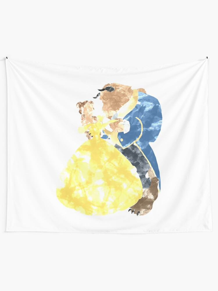 Alternate view of Watercolour Grunge of Beauty and The Beast (with transparency) Tapestry