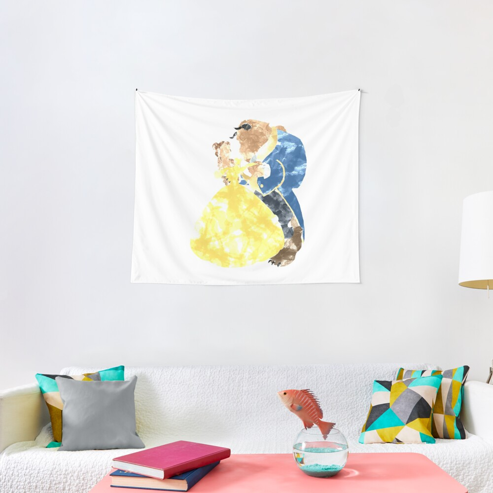 Watercolour Grunge of Beauty and The Beast (with transparency) Tapestry