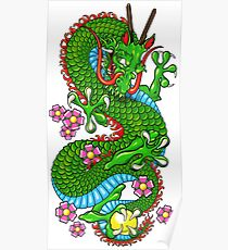 Green Cherry Blossom Dragon Tattoo in White Poster