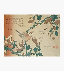 Hokusai Katsushika - A Paddy Bird Perched On A Flowering Magnolia Branch Photographic Print