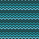Blue And Teal Chevron Zig Zag by JezebelDesigns