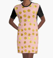 Gold and pink dots Graphic T-Shirt Dress