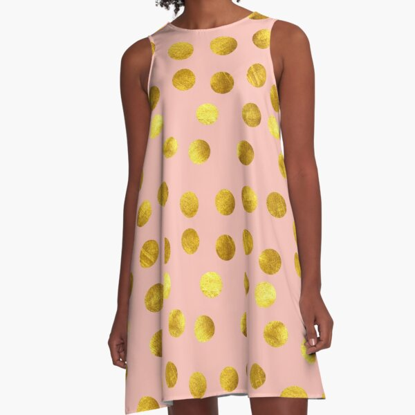 Gold and pink dots A-Line Dress