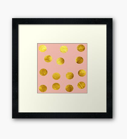 Gold and pink dots Framed Print