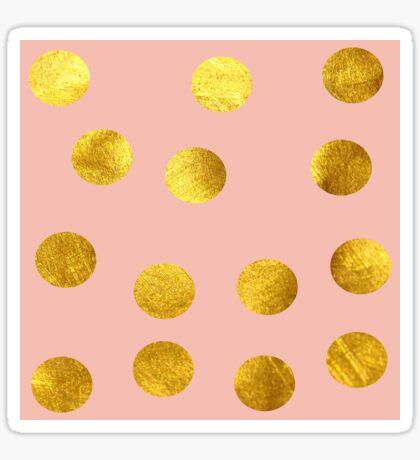 Gold and pink dots Sticker