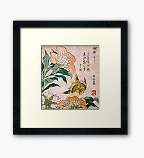 Hokusai Katsushika - Peony And Canary  Framed Print