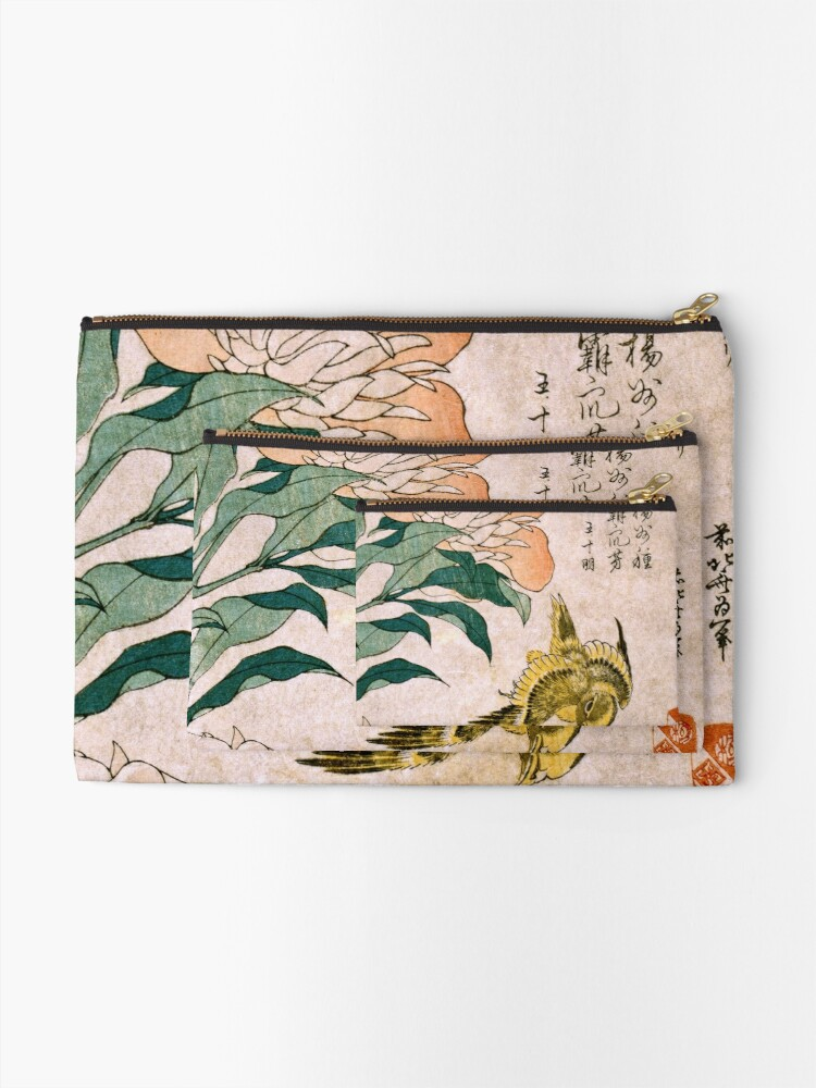 Vista alternativa de Bolsos de mano Hokusai Katsushika - Peonía y Canarias