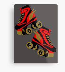 Cool golden roller skates Roller Derby Metal Print