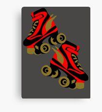 Cool golden roller skates Roller Derby Canvas Print