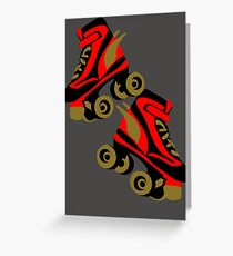 Cool golden roller skates Roller Derby Greeting Card