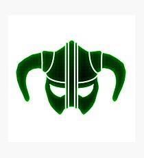 Green Tech Skyrim Helmet Photographic Print