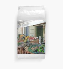 Fruit And Produce Lady Duvet Cover