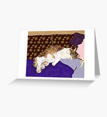 Sleeping Indigo Kitty  Greeting Card