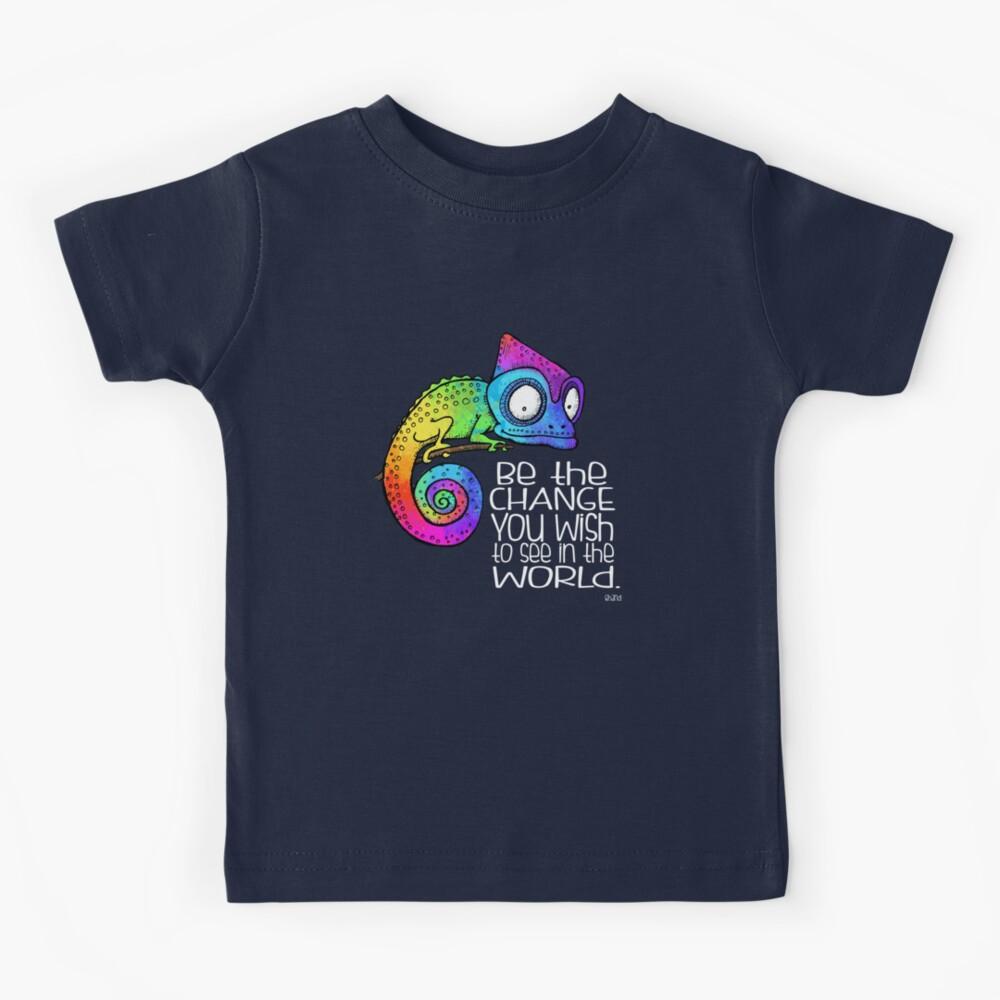 Be the Change - Ghandi Quote - Rainbow Chameleon - white text Kids T-Shirt