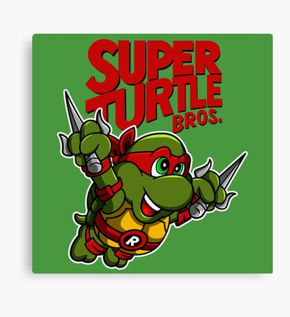 Super Turtle Bros - Raph Canvas Print