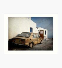 Deadcar on Santorini Art Print