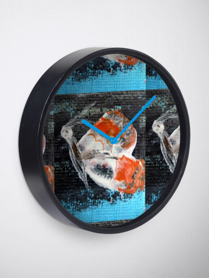 Alternate view of Orange butterfly.Palette knife painting Clock