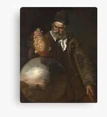 Italian - An Old Man Holding A Pilgrim-Bottle Canvas Print