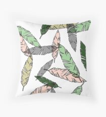 Colored Feather Print Throw Pillow