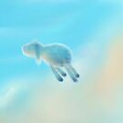 a sheep is flying to the sky by Martina Stroebel