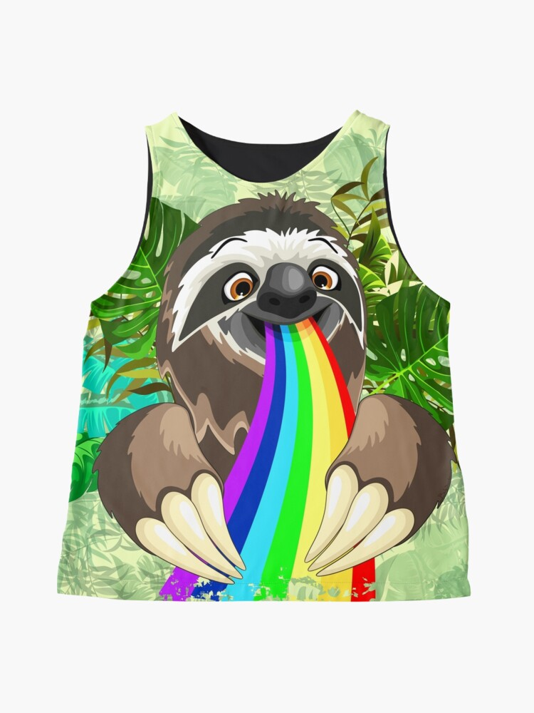 Alternate view of Sloth Spitting Rainbow Colors Sleeveless Top