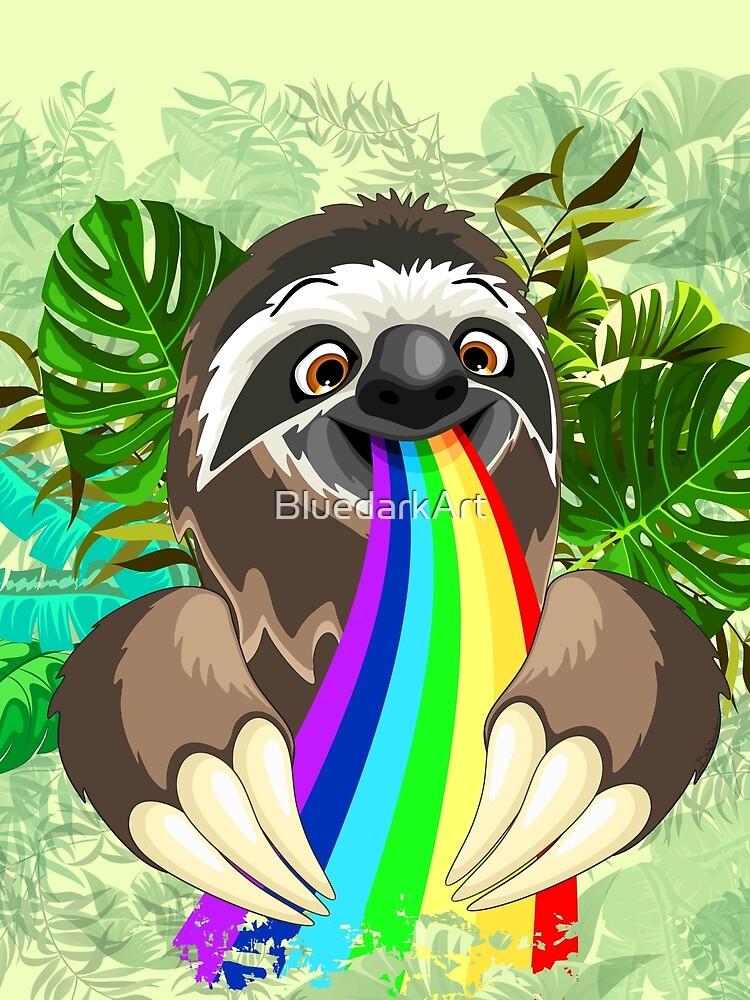 Sloth Spitting Rainbow Colors by BluedarkArt