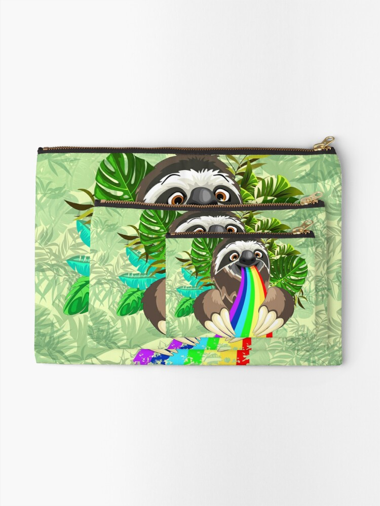 Alternate view of Sloth Spitting Rainbow Colors Zipper Pouch