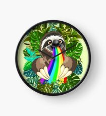 Sloth Spitting Rainbow Colors Clock