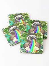 Sloth Spitting Rainbow Colors Coasters