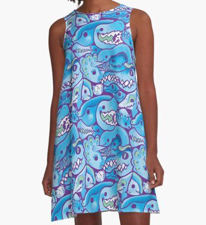 Dinosaur Pattern in Blue A-Line Dress