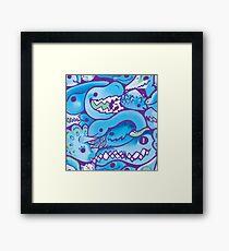 Dinosaur Pattern in Blue Framed Print