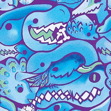 Dinosaur Pattern in Blue by Paigekotalik