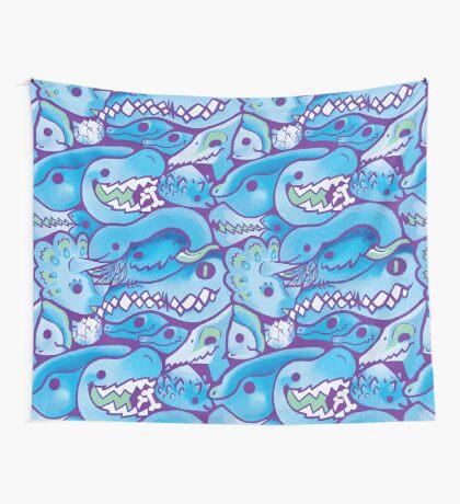 Dinosaur Pattern in Blue Wall Tapestry