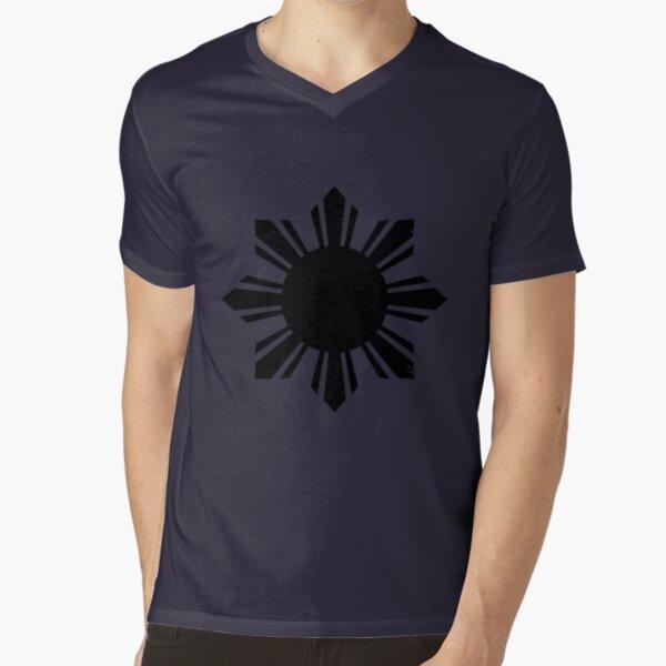 Black Flag Philippines Sun  V-Neck T-Shirt